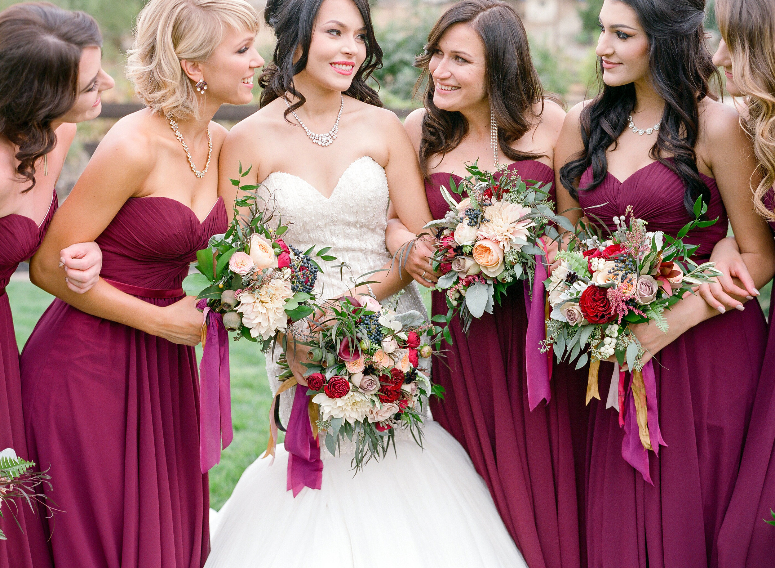 Amador_County_Wedding_Bride_Bridesmaids_Bouquets_Smiles_Rancho_Victoria_Vineyard_Northern_California.jpg