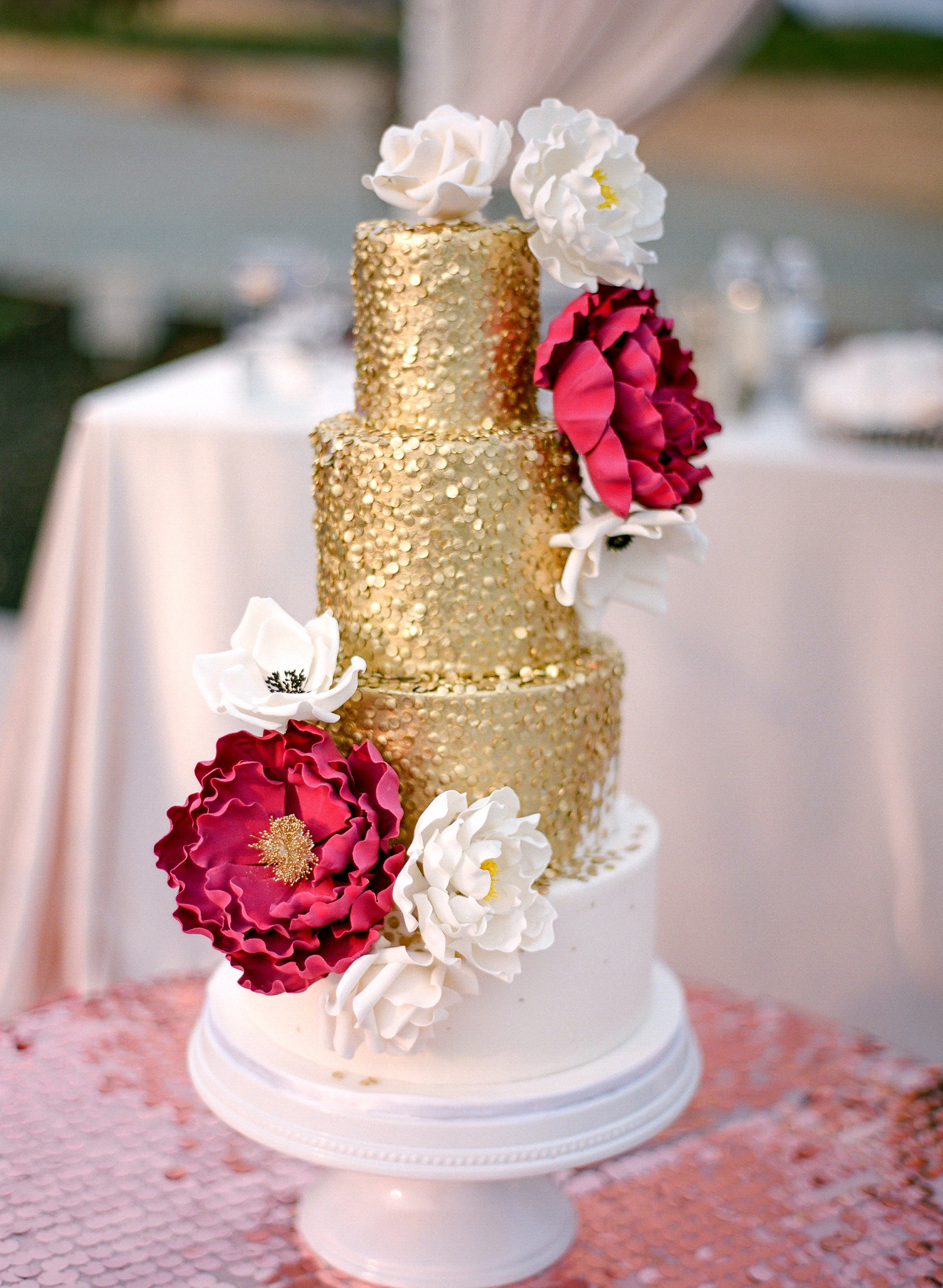 Amador_County_Wedding_Cake_Burgundy_Red_Gold_Sparkles_Rancho_Victoria_Vineyard_Northern_California.jpg