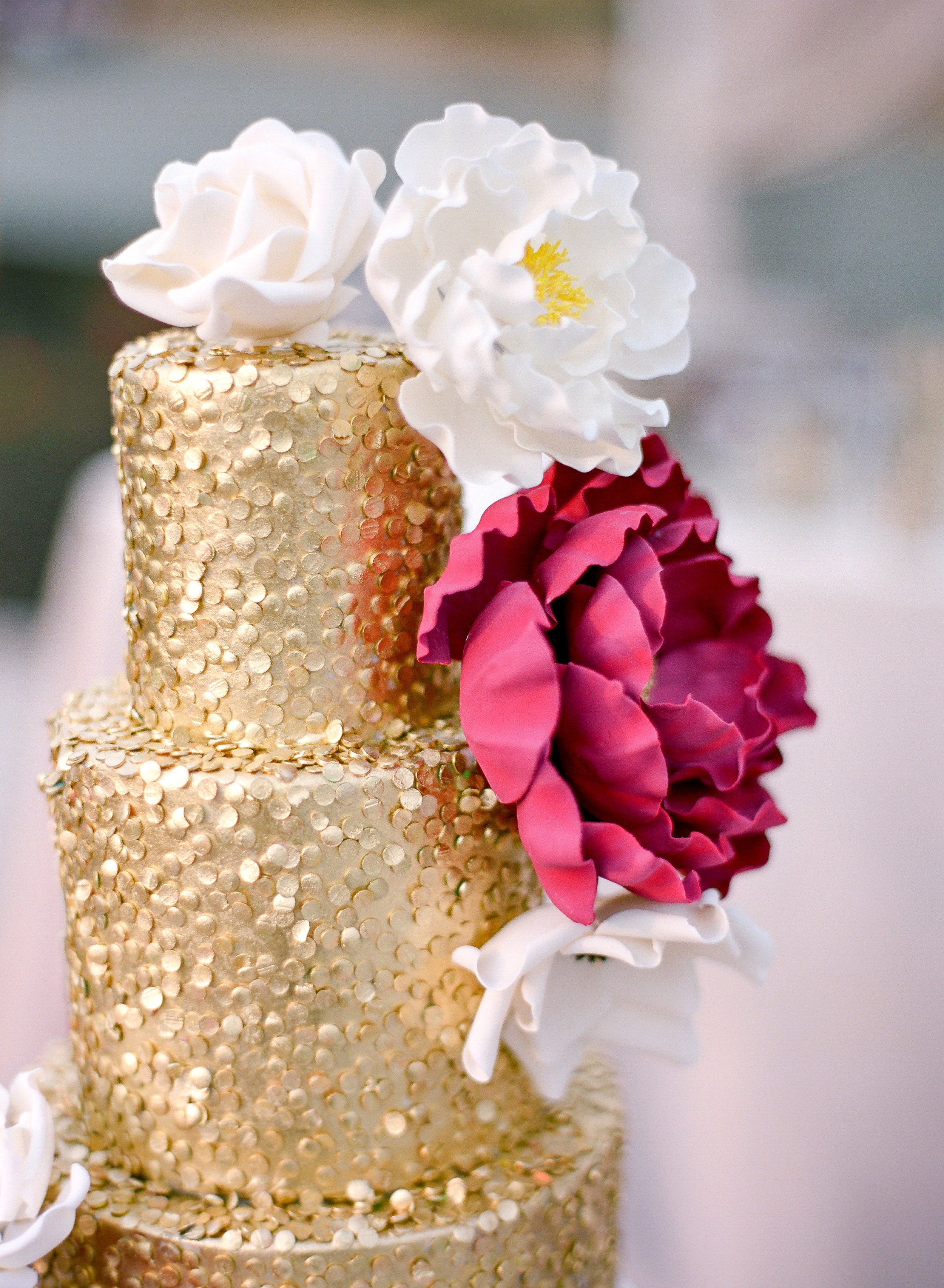 Amador_County_Wedding_Cake_Gold_Red_White_Flowers_Sparkles_Rancho_Victoria_Vineyard_Northern_California.jpg
