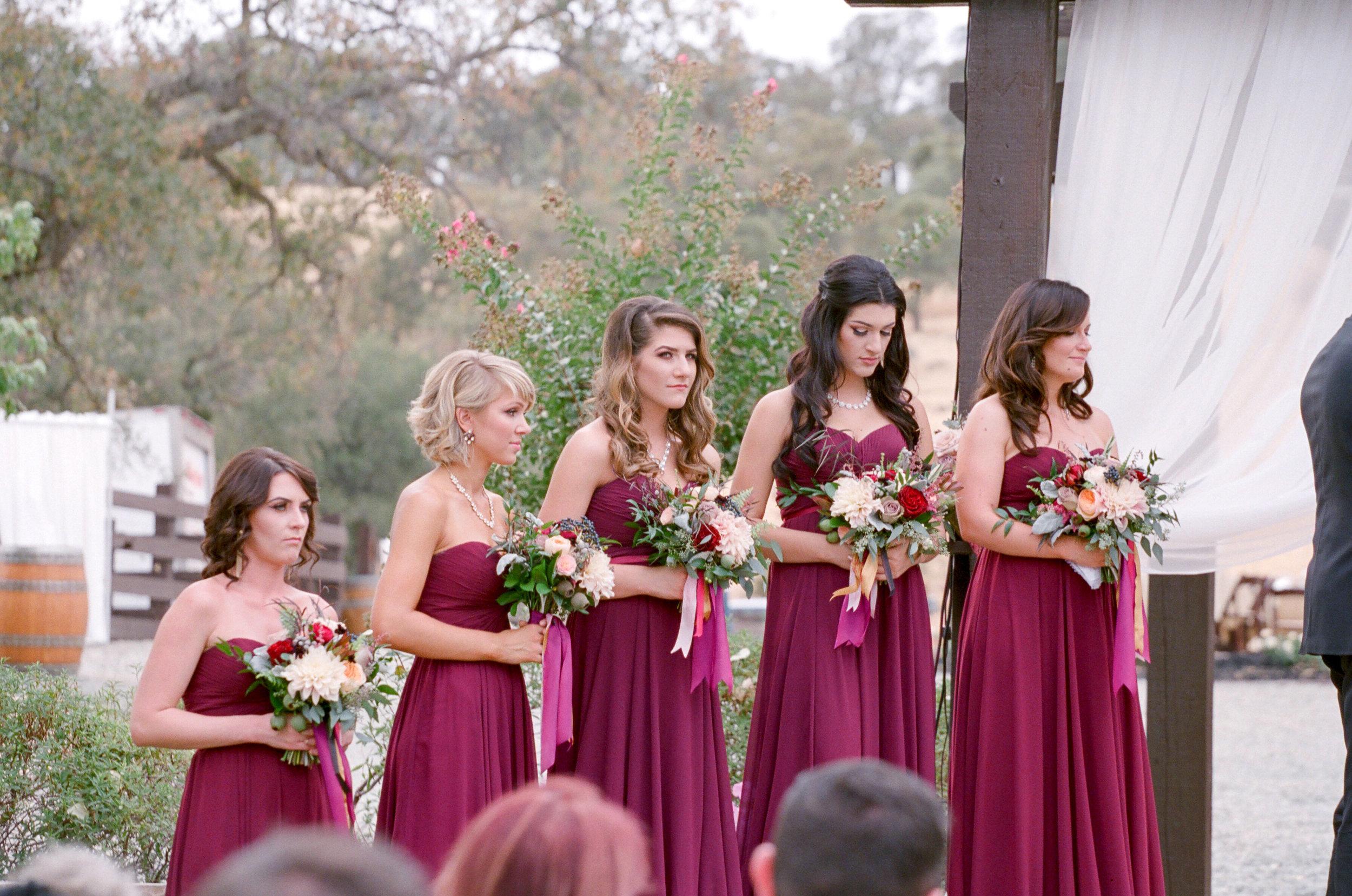 Amador_County_Wedding_Ceremony_Bridesmaids_Bouquets_Rancho_Victoria_Vineyard_Northern_California.jpg