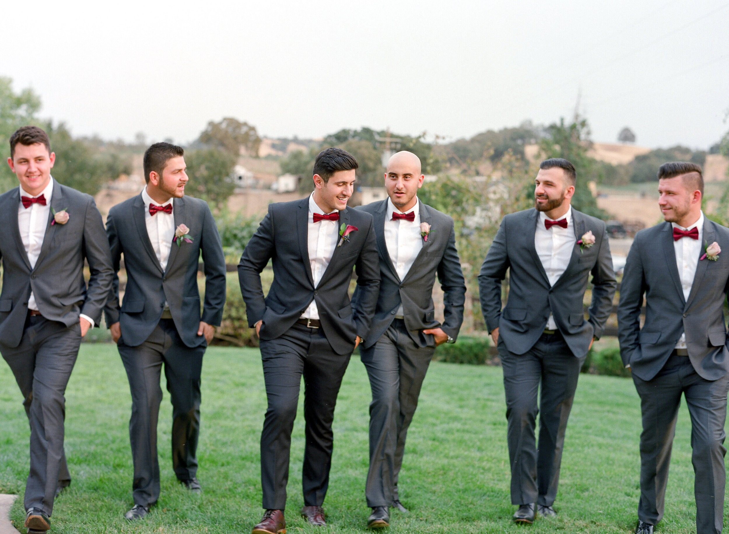 Amador_County_Wedding_Groom_Groomsmen_Walking_Posing_Rancho_Victoria_Vineyard_Northern_California.jpg