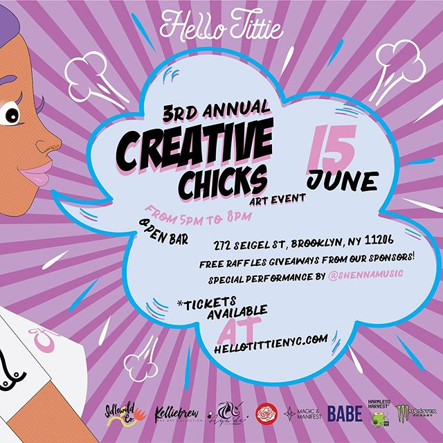 I'm super excited to be participating in @hellotittie 3rd Annual Creative Chicks art event, which will be held on Saturday, June 15th @beyondstudios ✨Purchase your tickets today!✨OPEN BAR all night thanks to @drinkbabe @harmlessharvest @monsterenergy live painting, a special performance also a movie screening! Lastly, FREE raffle giveaways from their sponsors. If you missed last year checkout hellotittienyc.com for the event recap. I hope to see you all there. 🎨 #Hellotittie #Art #Artist #Artislife #Sculpture #Painting #Paint #Paintbrush #Event #ArtEvent #CreativeChicks #Brooklyn #HellotittieArt #Femme #WomenArt #Illustrations #Illustrator  #Ceramics