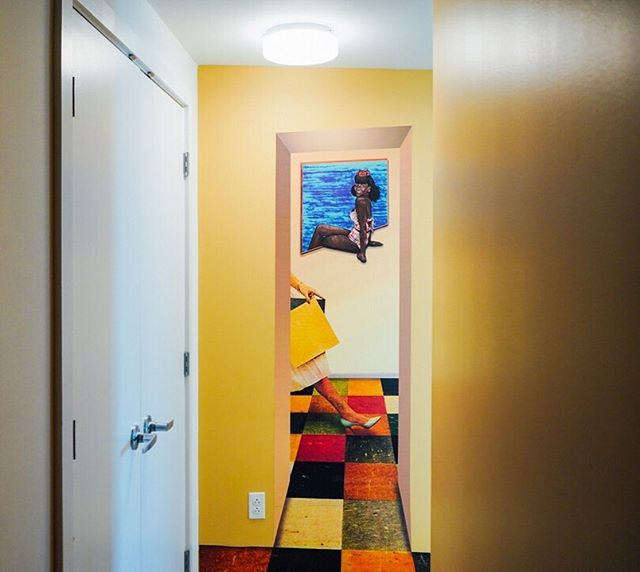 "The entranceway to ""The Mint"" Suite features customized, multi-dimensional artwork by @ephemeroh 💛 . . . . . . #mycoralhome #mycoralphilly #phillystreetart #whyilovephilly #visitphilly #discoverphl #phillypulse #explore215  #phl #igers_philly #phillyart #phillyartists #murals #phillymurals"