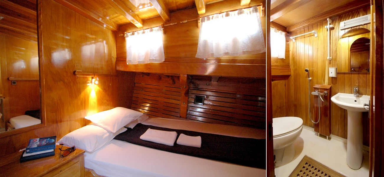 Suite Four - There is only one private room option on this yacht other than the VIP room. This option is for two people wishing to have their own room & private bathroom. (Must have two people sharing this room, or pay $5,500 as a single.)