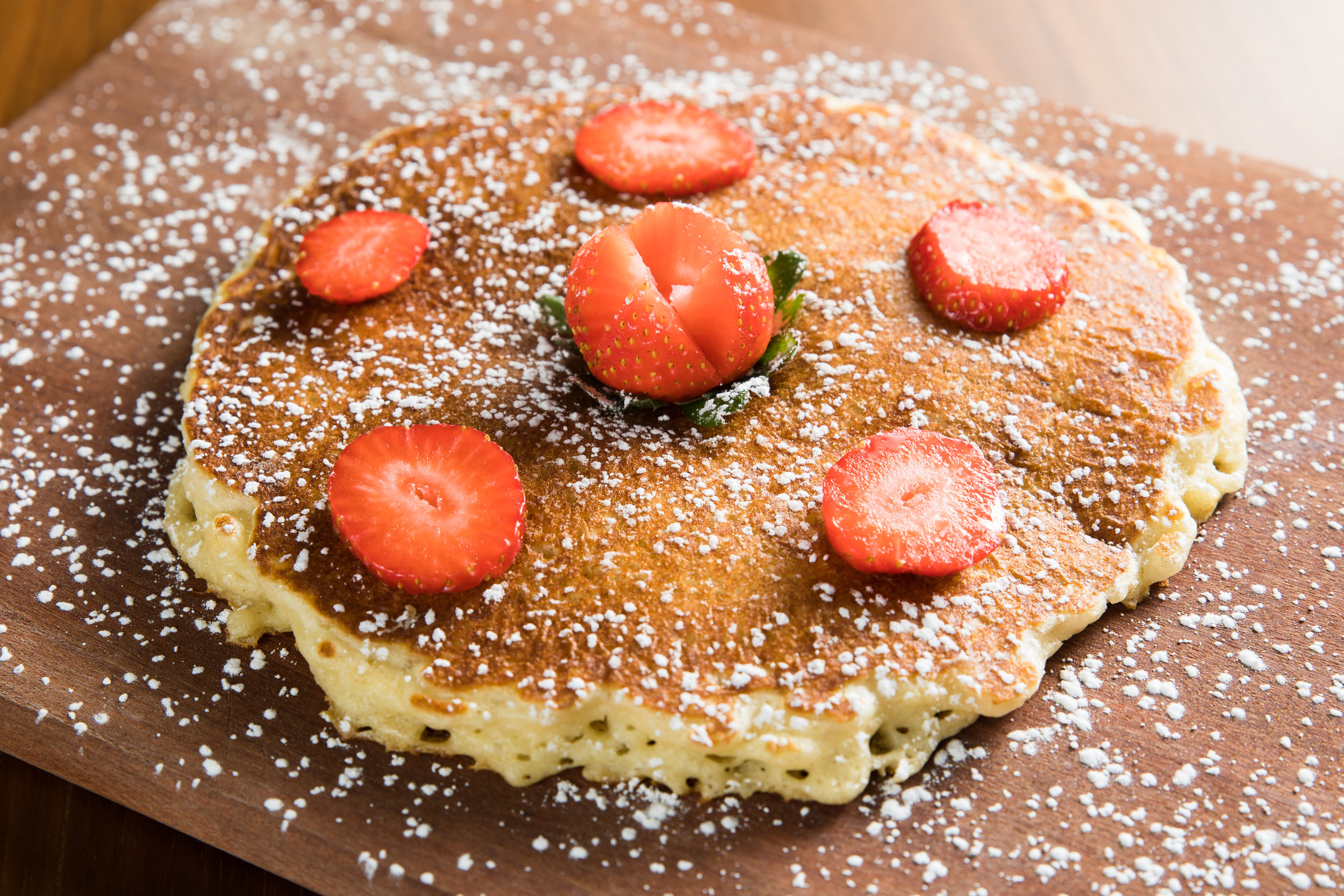 Buttermilk Pancake topped with Strawberries