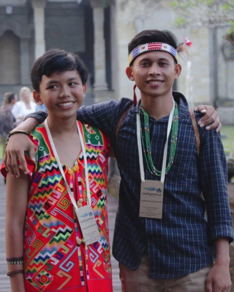 Mentawai Filmmaker Martison Siritoitet with young Dayak Iban Filmmaker Kynan Tegar