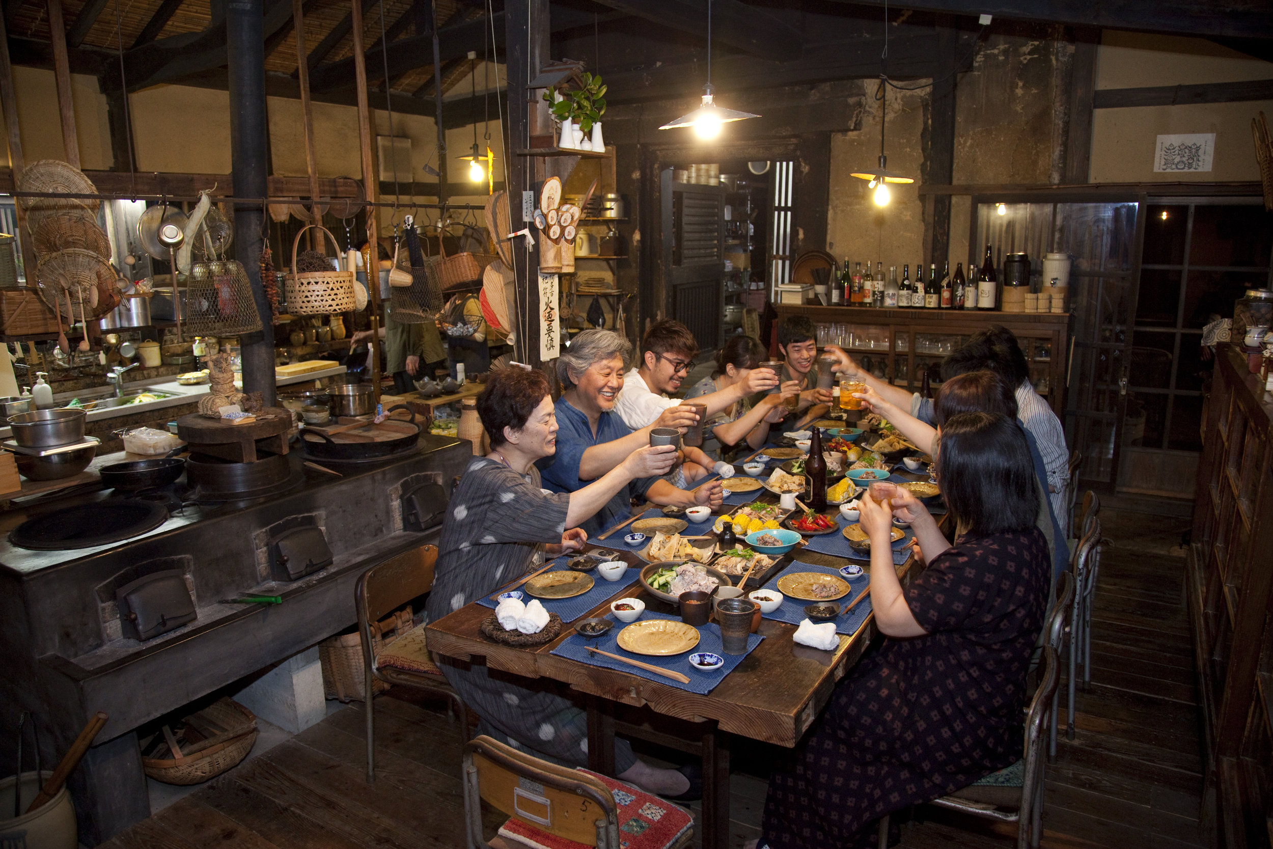 Takyo Abeke - Sitting around a dinner table, enjoying delightful conversation and home cooked dishes made with seasonal ingredients, a traditional daily life we cherish.