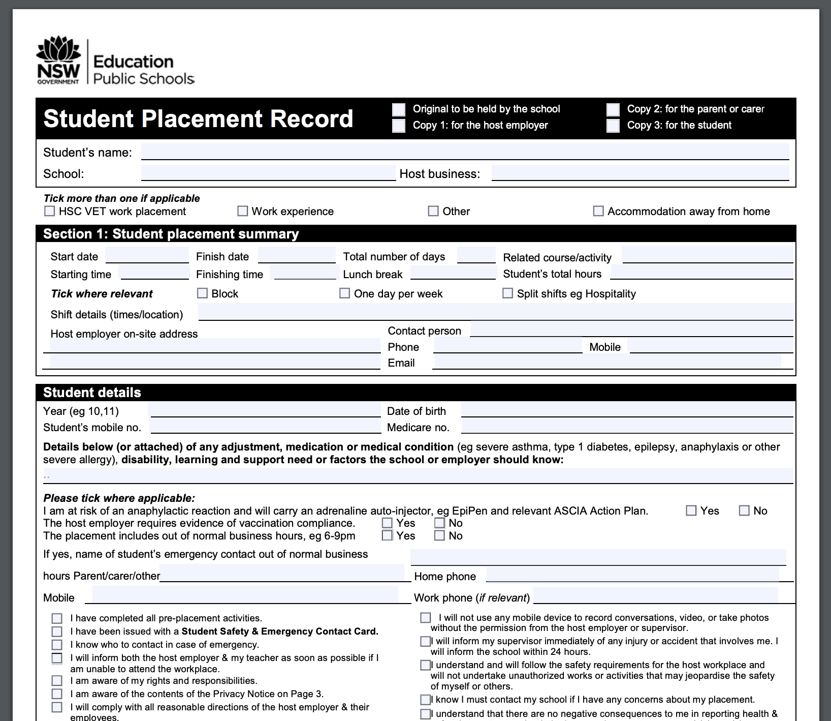 Pathways NSW Student Placement Record SPR