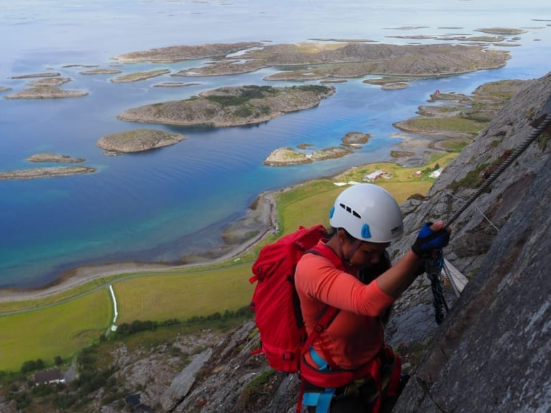 Ravnfloget Via Ferrata - North on Vega you can find Ravnfloget Via Ferrata. The route offers a fantastic view of the World Heritage Area and the island Søla. There is a green and a black trail to the top. The green one is 510 meters and the black on is 550 meters. The way down is the Vega Staircase.