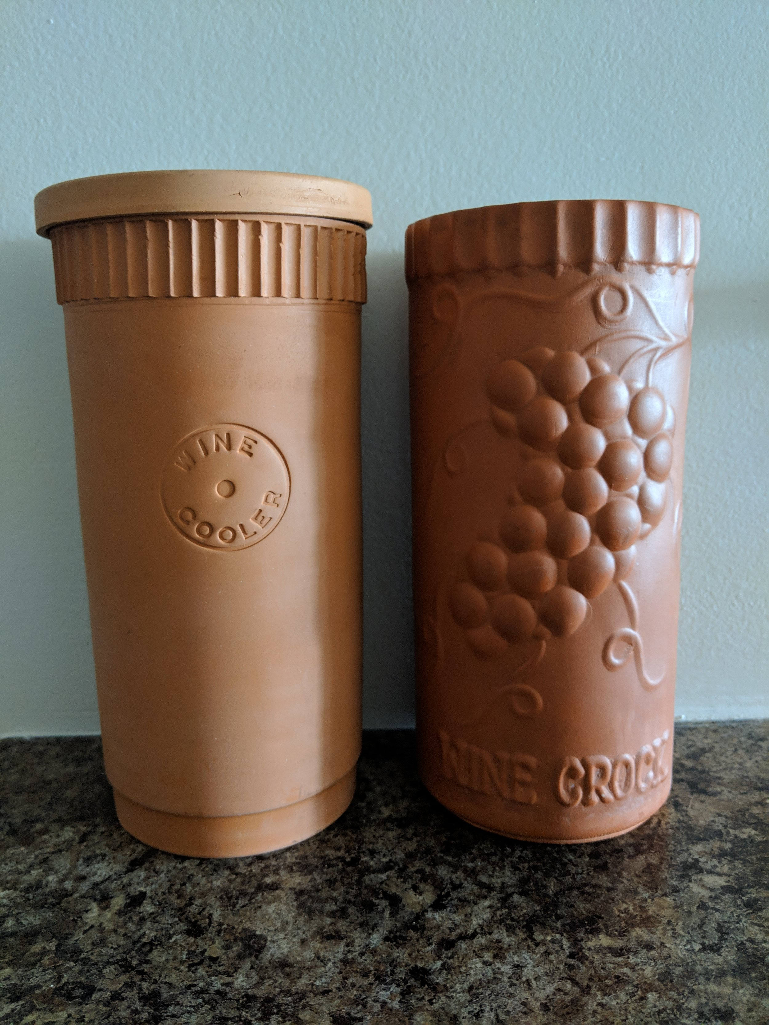"""1.Terracotta wine cooler - Salvation Army, $1.99 and Goodwill, $2.99: When I found these terracotta wine chillers (same day, two separate shops) I wasn't even sure what they were! They're both stamped """"Made in Italy"""" and I've already gotten a lot of use out of them. They stay cold for hours!"""
