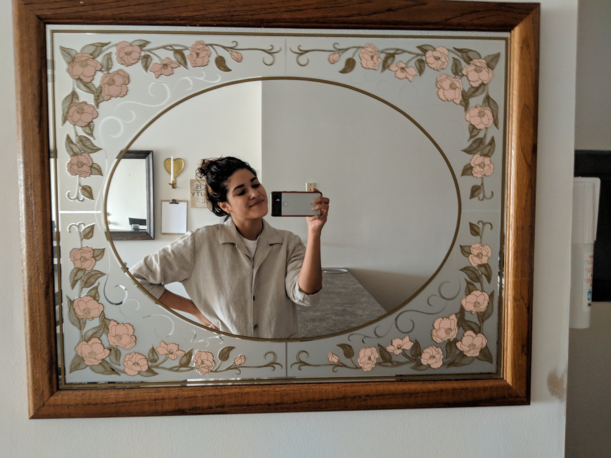 4. Floral mirror - Craigslist, $20: It was in nearly perfect condition. There were a few splashes of yellow paint on the frame, but I had no trouble scraping them off.