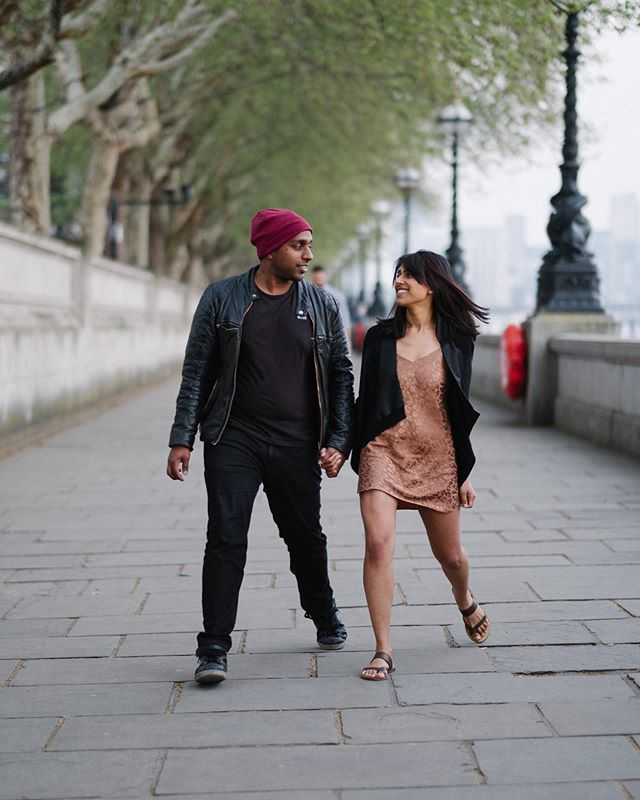 Skipping into the new week like... ❤️ . More from Laki and Radhini's laughter filled London engagement session on the blog now.  #pebbleandafish