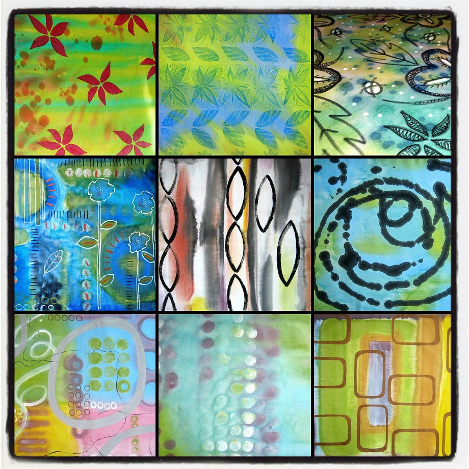 Painting and Printing - Create your own painted and printed fabrics. Learn how to make inspiring, individual pieces to incorporate into your quilting and textile creations. Many different techniques of surface decoration will be taught including stamping, stenciling and mono printing. No fussing about with dyes and chemicals, all done with easy to use fabric paints!