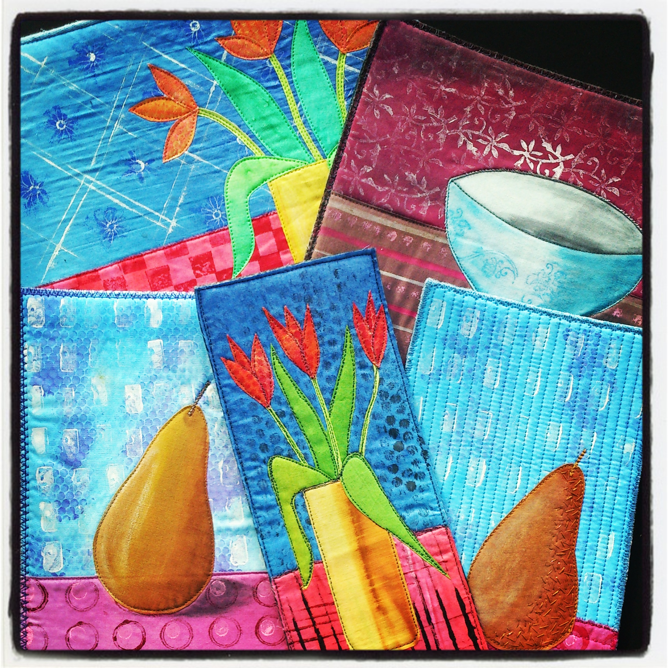 Still Life Surface Design - Paint and print and decorate your fabric and then put them all together to create a unique still life textile art piece.