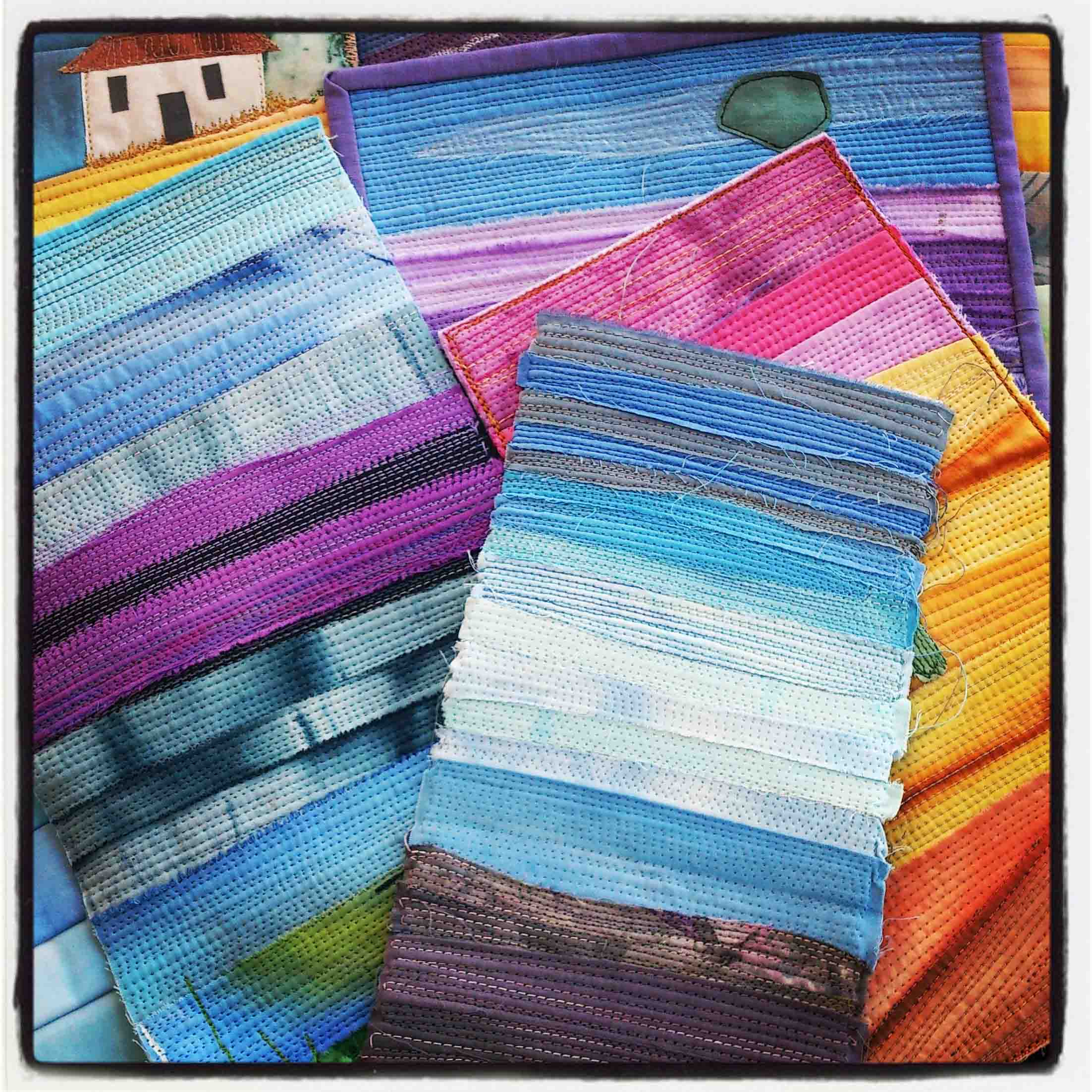 Strip Landscapes - A fun and easy class that demonstrates a simple but effective way to produce a mini landscape quilt.Using a variety of techniques from piecing, to raw edges, applique and added embellishments. This class also looks at some alternative ways for finishing off and displaying your creations.