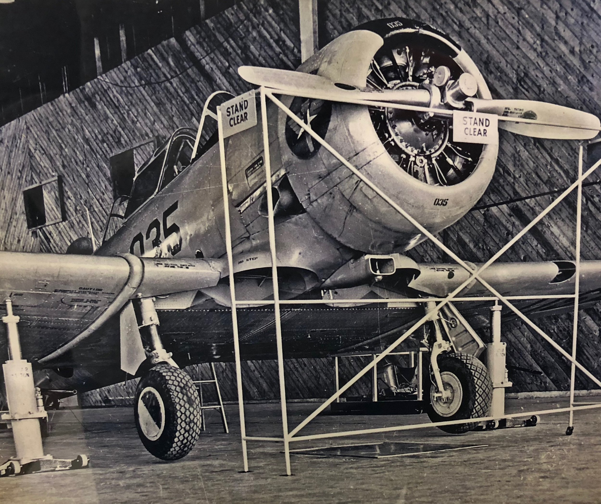 T-6 on Jacks in Maintenance Shop