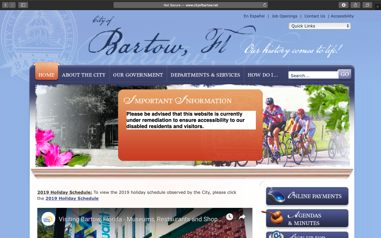 City of Bartow Website Snapshot