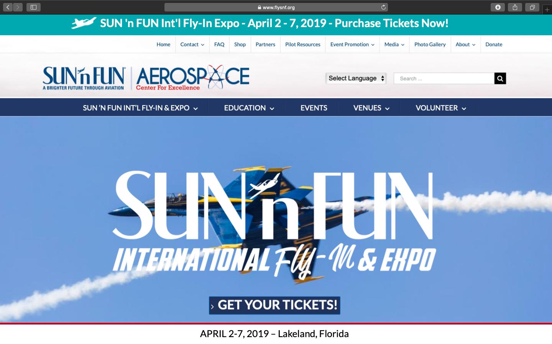 Sun 'N Fun Website Snapshot