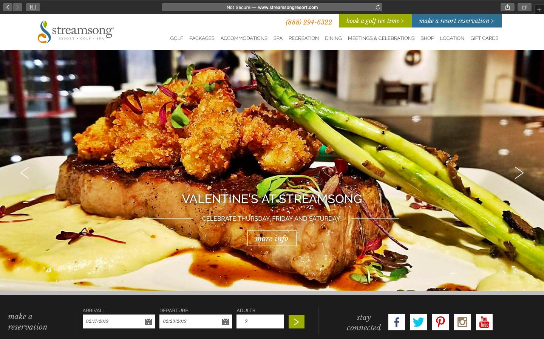 Stream Song Resort Website Snapshot