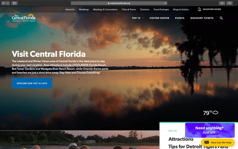 Visit Central Florida Website Snapshot