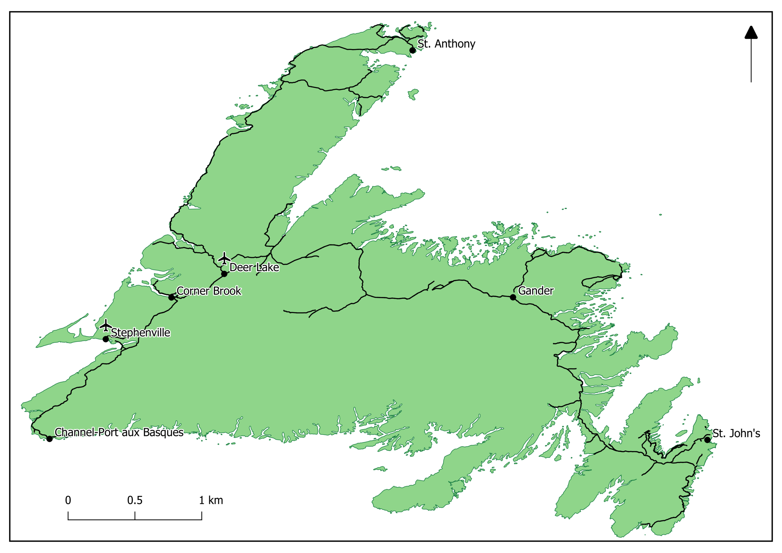 Locations of Western Newfoundland Airports and selected communities