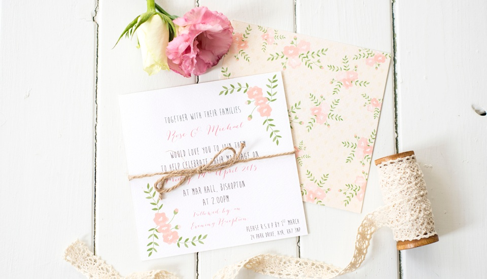 Invitations and All wedding stationery designed for you .