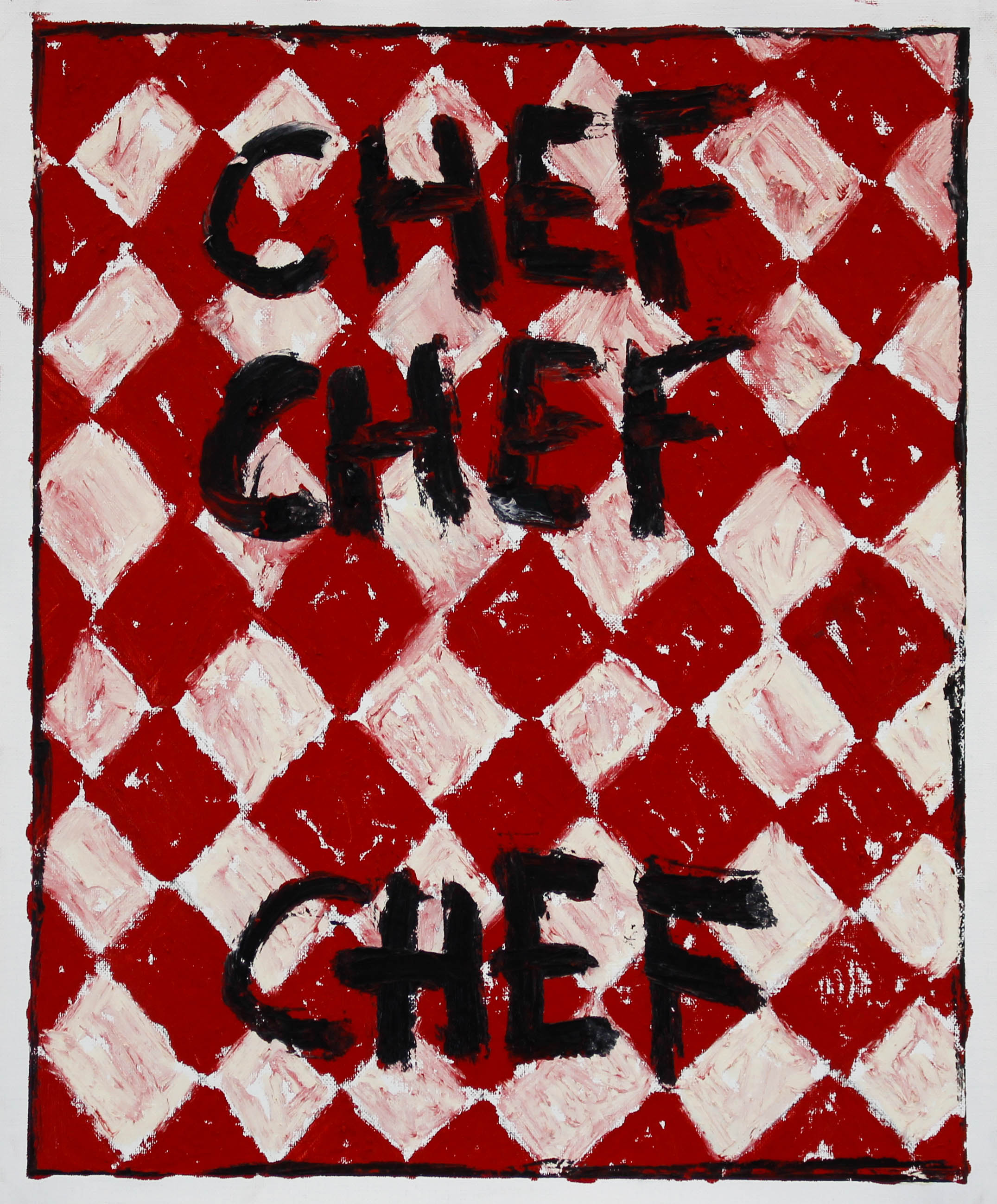 """""""CHEF X 3"""" / 2019 OILSTICK ON UNSTRETCHED CANVAS FRAMED IN WHITE WITH ARTGLASS AR70 42 X 51 CM SOLD"""