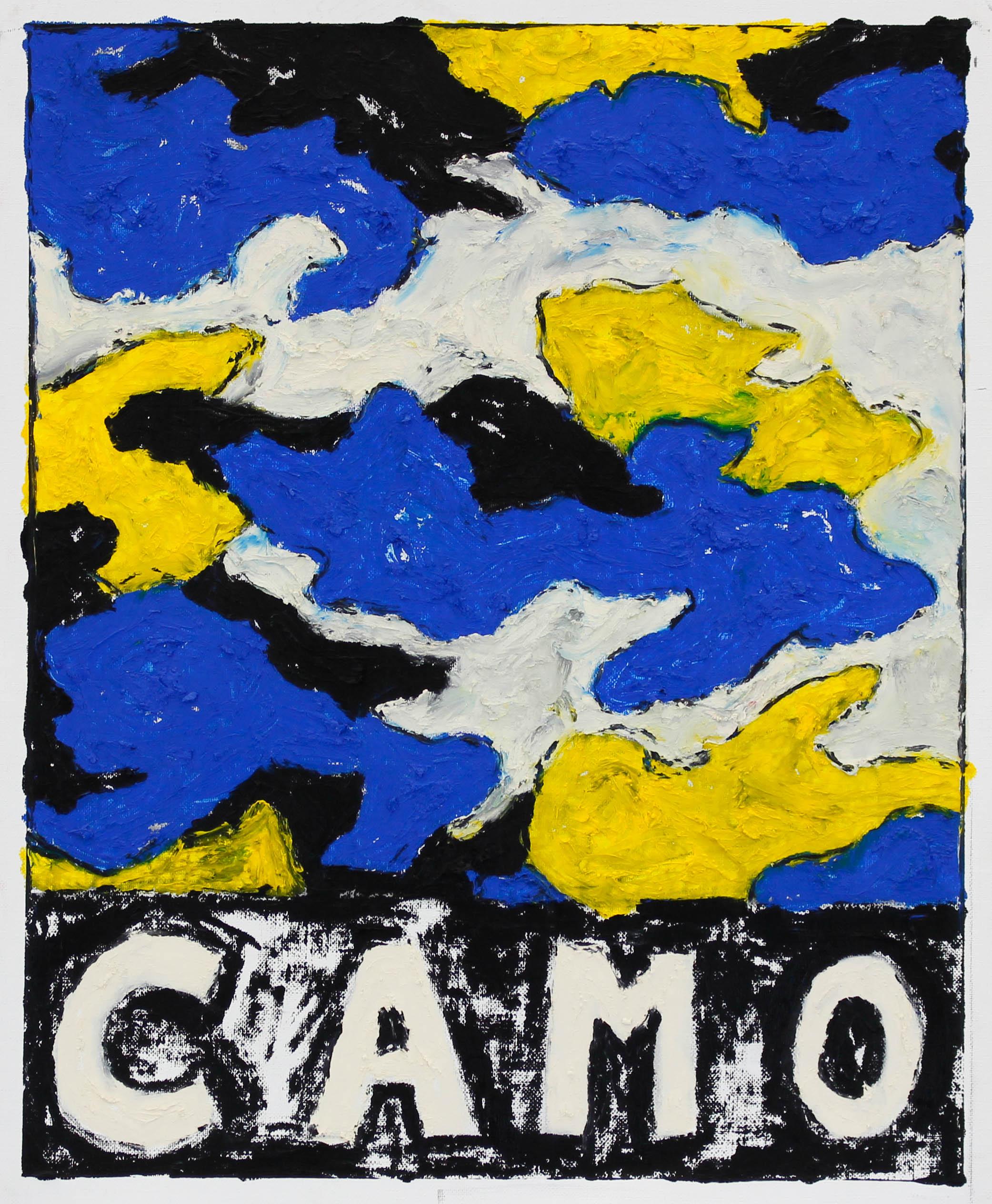 """CAMO (BLU/YLW/WHT/BLCK)"" / 2019 OILSTICK ON UNSTRETCHED CANVAS FRAMED IN WHITE WITH ARTGLASS AR70 42 X 51 CM 4900 NOK"