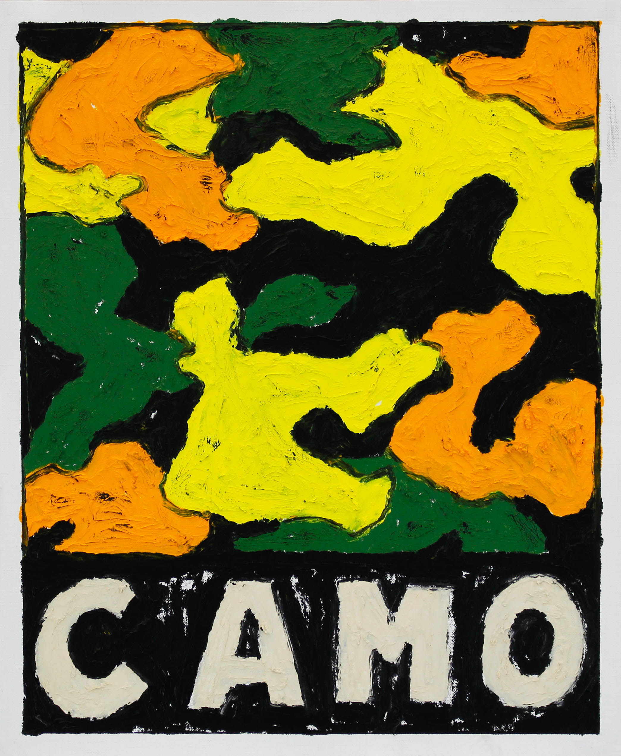 """""""CAMO (YLW/ORNG/GRN/BLK)"""" / 2019 OILSTICK ON UNSTRETCHED CANVAS FRAMED IN WHITE WITH ARTGLASS AR70 42 X 51 CM 4900 NOK"""