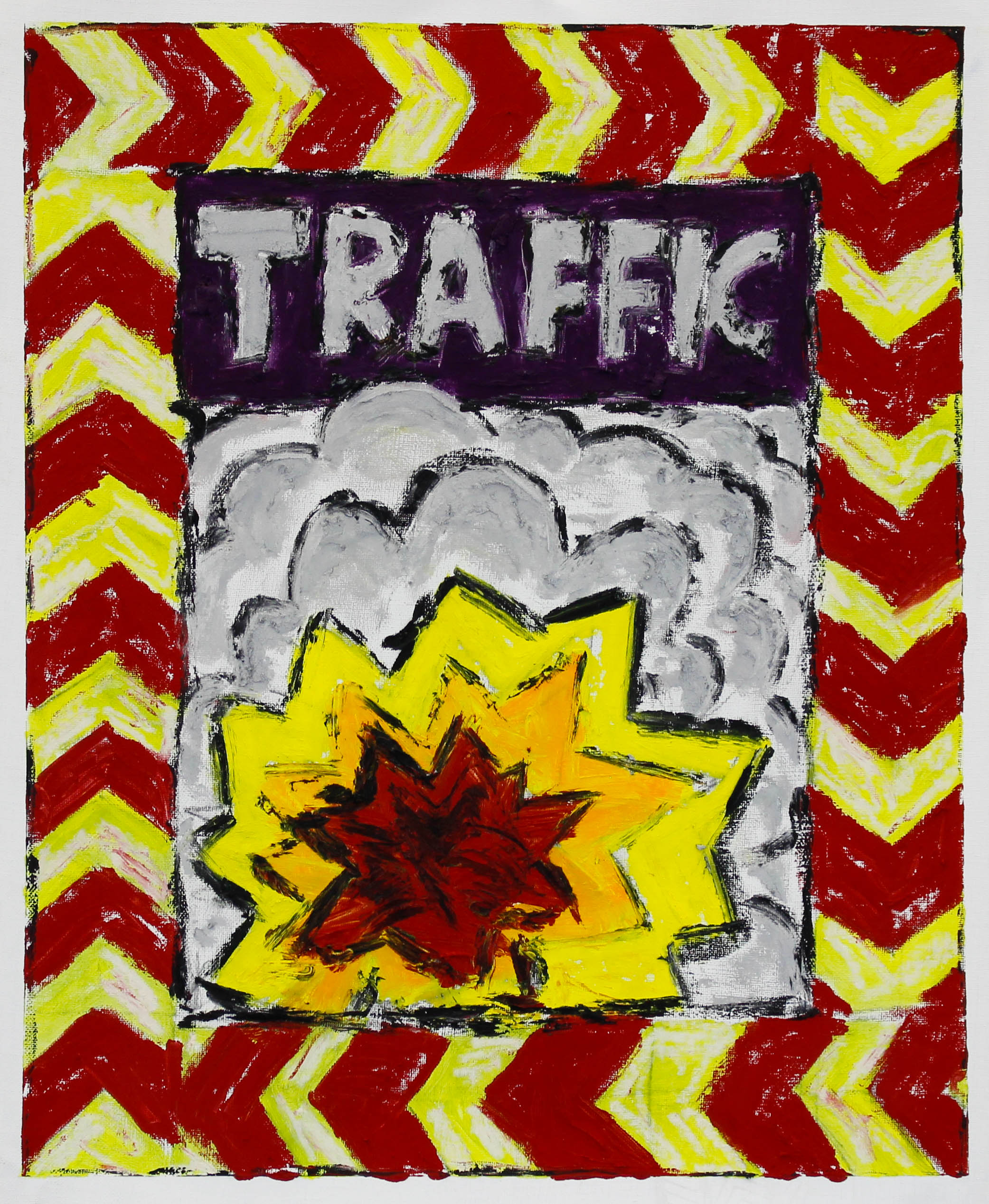"""TRAFFIC (WARNING)"" / 2019 OILSTICK ON UNSTRETCHED CANVAS FRAMED IN BLACK WITH ARTGLASS AR70 42 X 51 CM 4900 NOK"
