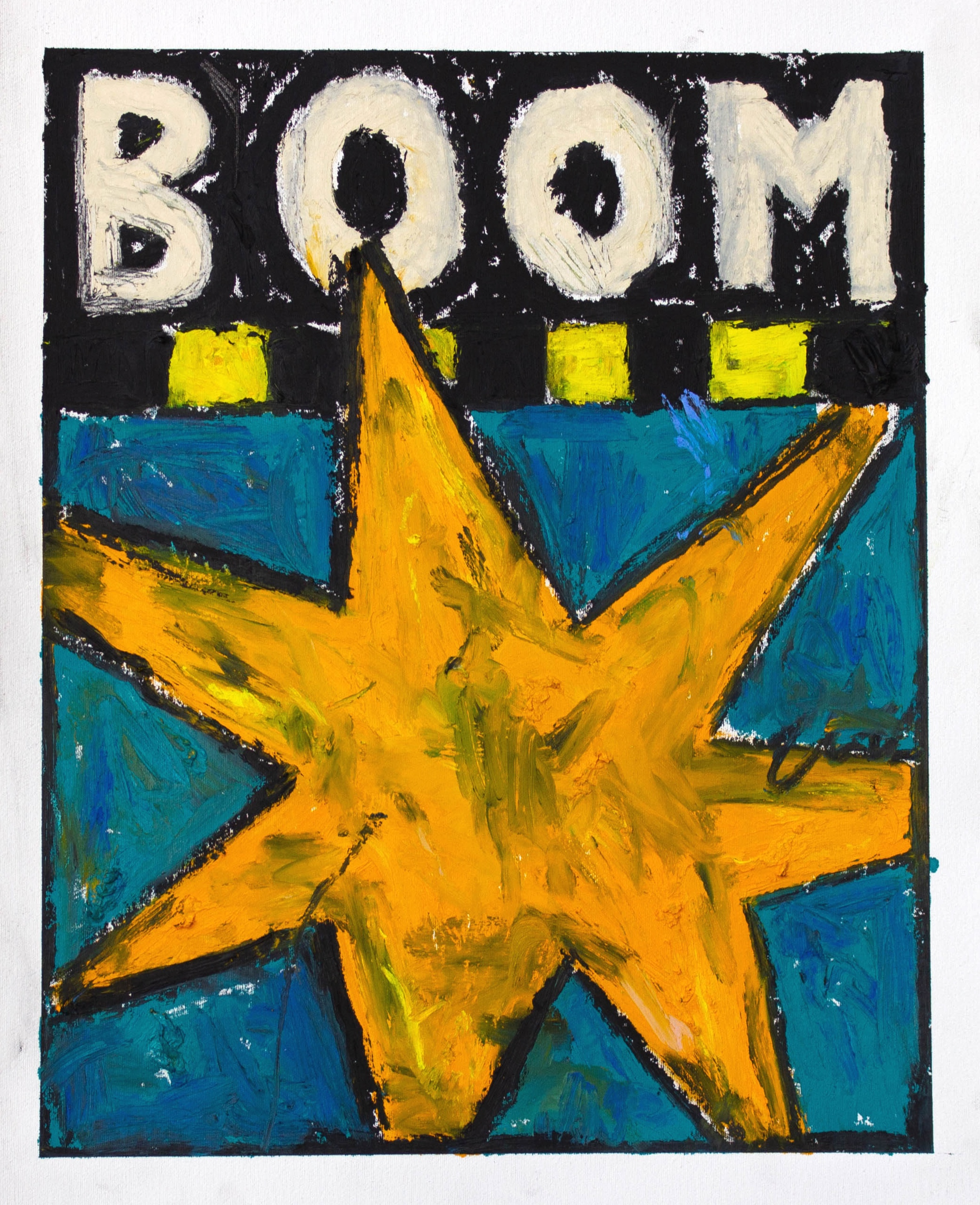 """""""BOOM"""" / 2019 OILSTICK ON UNSTRETCHED CANVAS FRAMED IN WHITE WITH ARTGLASS AR70 42 X 51 CM 4900 NOK"""
