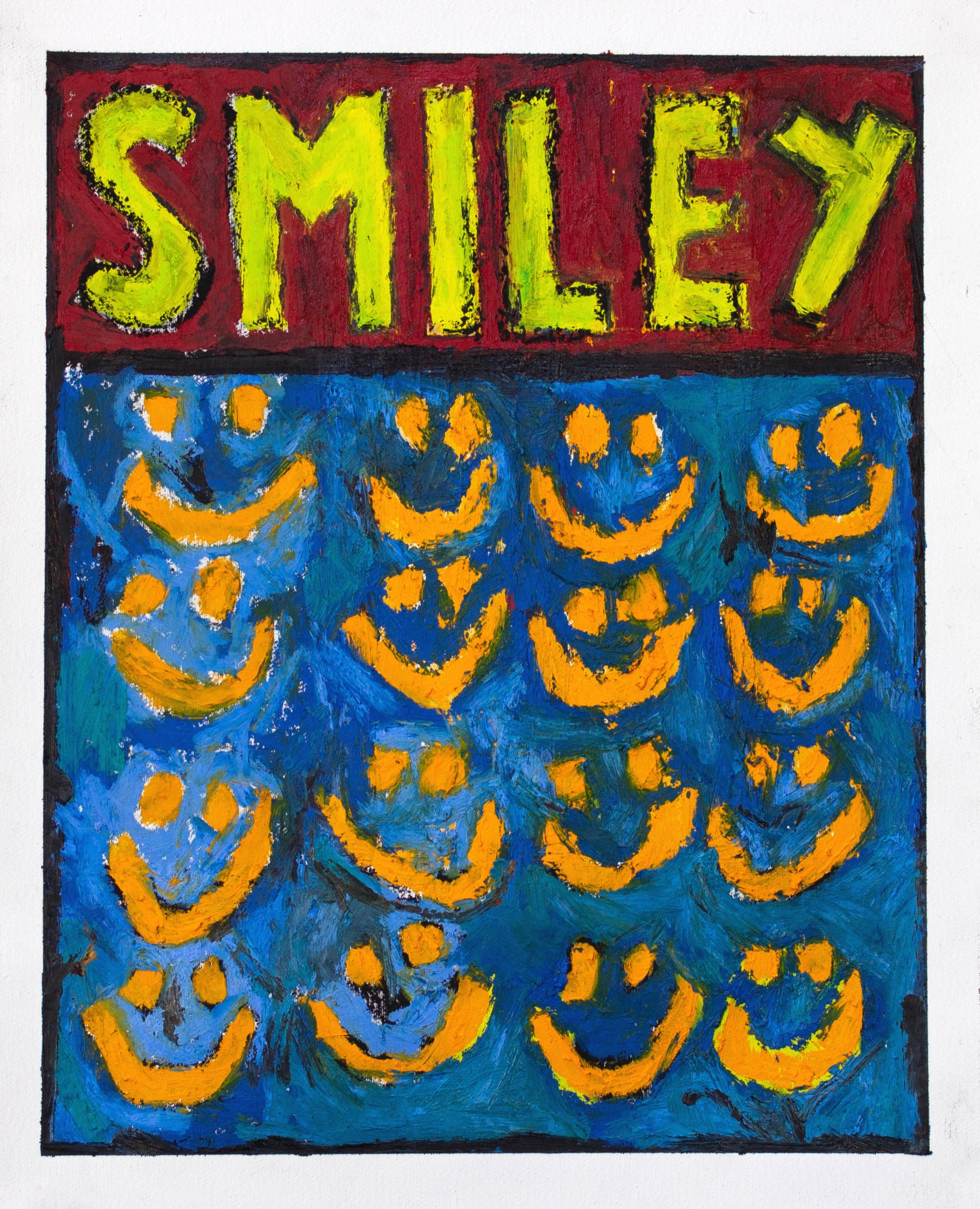 """""""SMILEY CHART"""" / 2019 OILSTICK ON UNSTRETCHED CANVAS FRAMED IN BLACK WITH ARTGLASS AR70 42 X 51 CM 4900 NOK"""