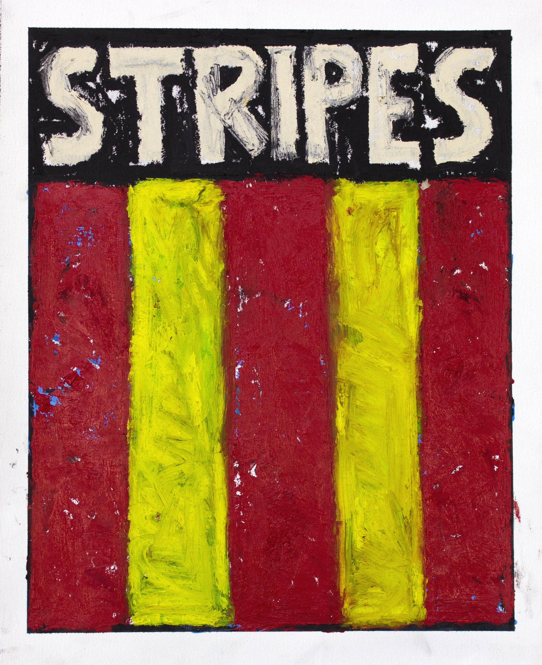 """""""STRIPES"""" / 2019 OILSTICK ON UNSTRETCHED CANVAS FRAMED IN WHITE WITH ARTGLASS AR70 42 X 51 CM 4900 NOK"""