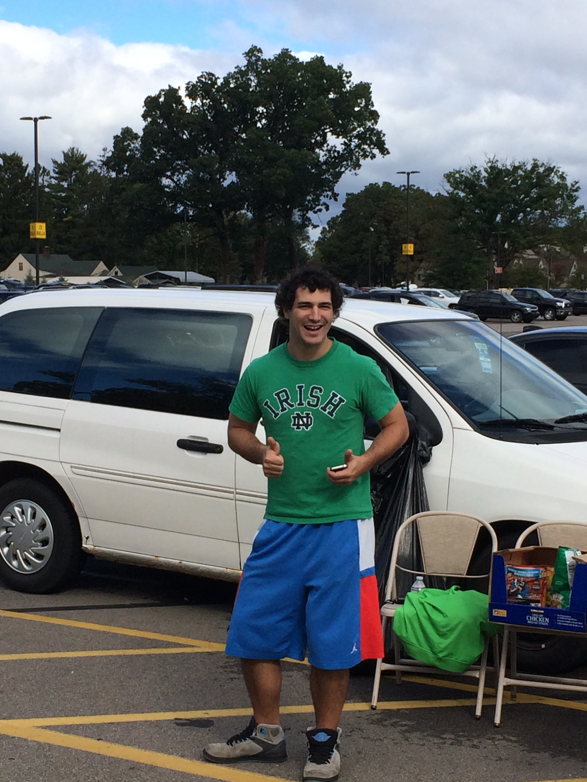 Dillon tailgating at Notre Dame in South Bend. Go Irish!