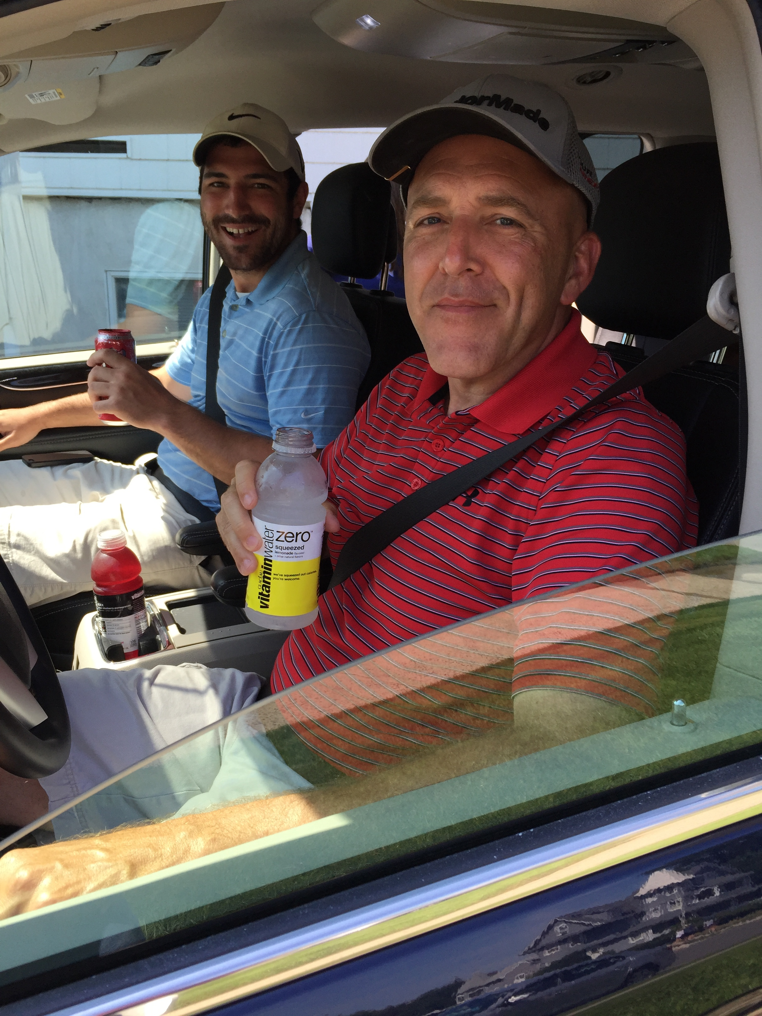 Dillon and Lee in New Jersey, heading out to golf in The Shore Thing BOB.