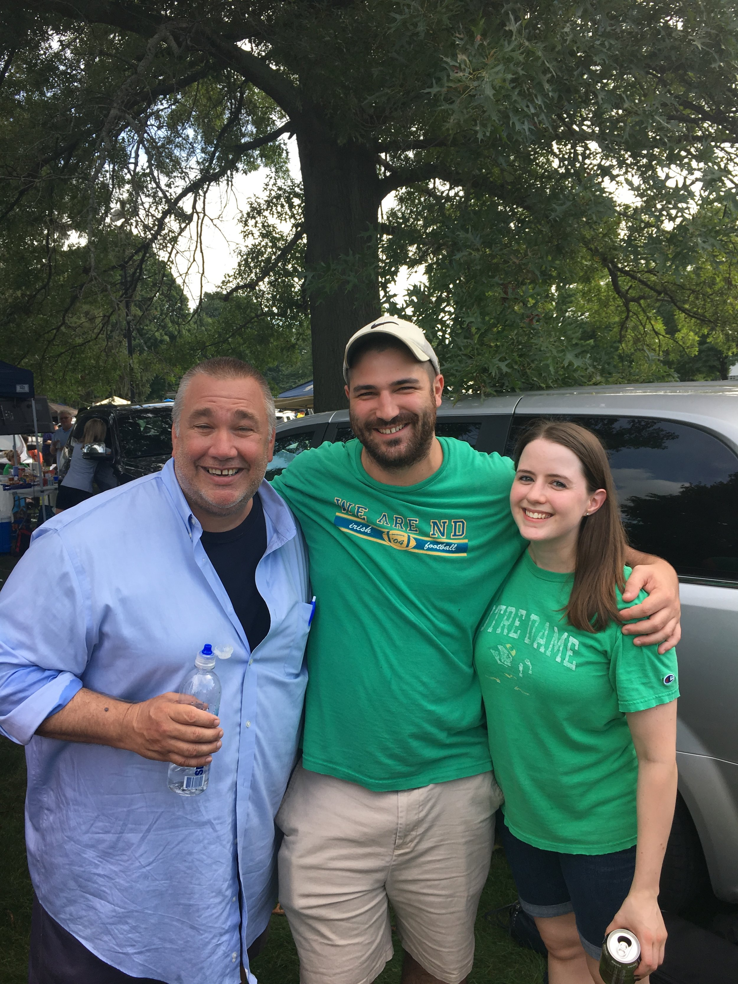 Boxcar Krillenberger, Dillon, and Megan tailgating at Notre Dame in South Bend.