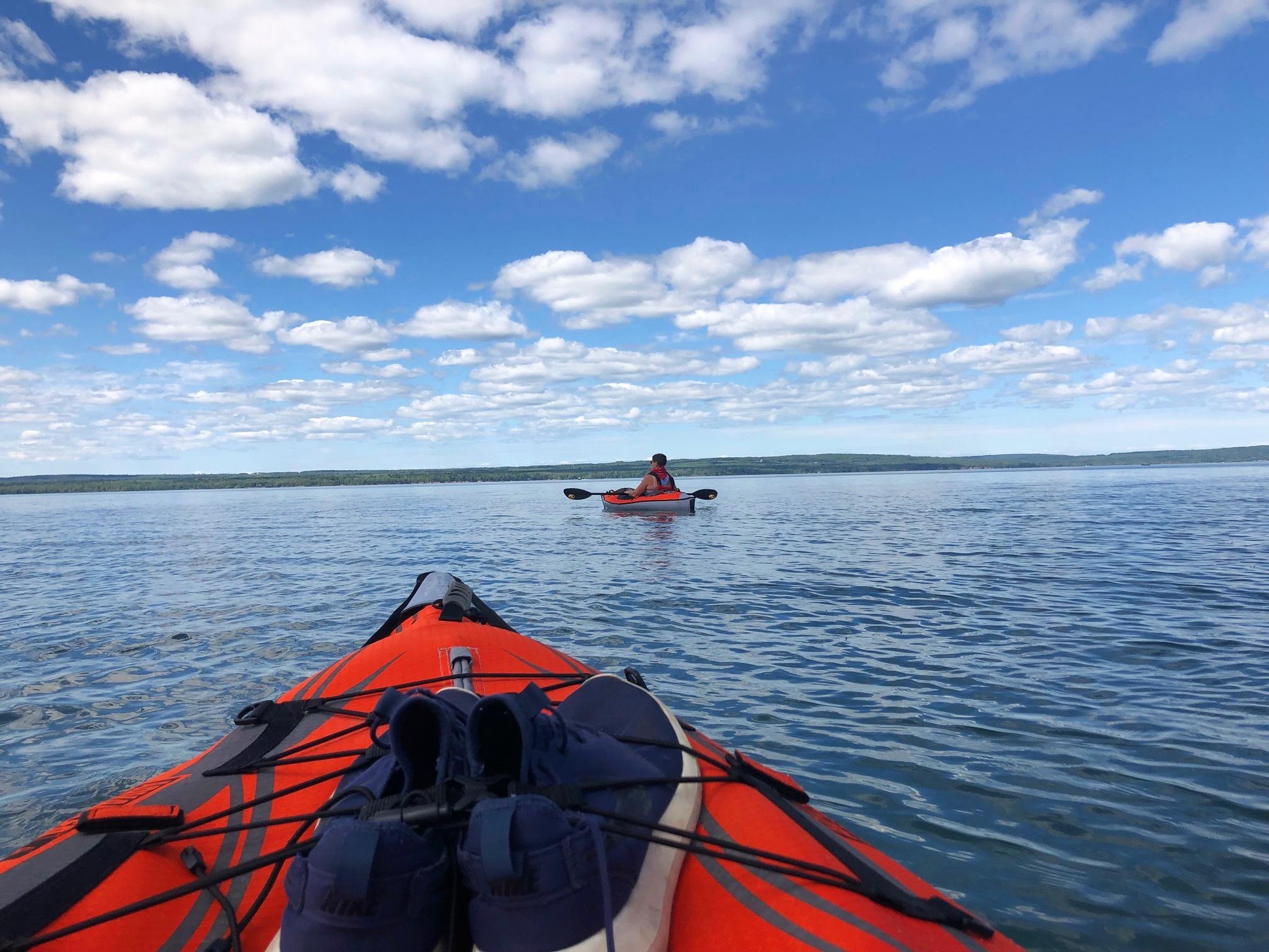 Suze kayaking on THE biggest lake. Salt free and no sharks!