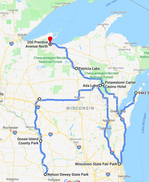 Here's a map of our Wisconsin travels. I guess next time we need to visit Madison and the Dells.