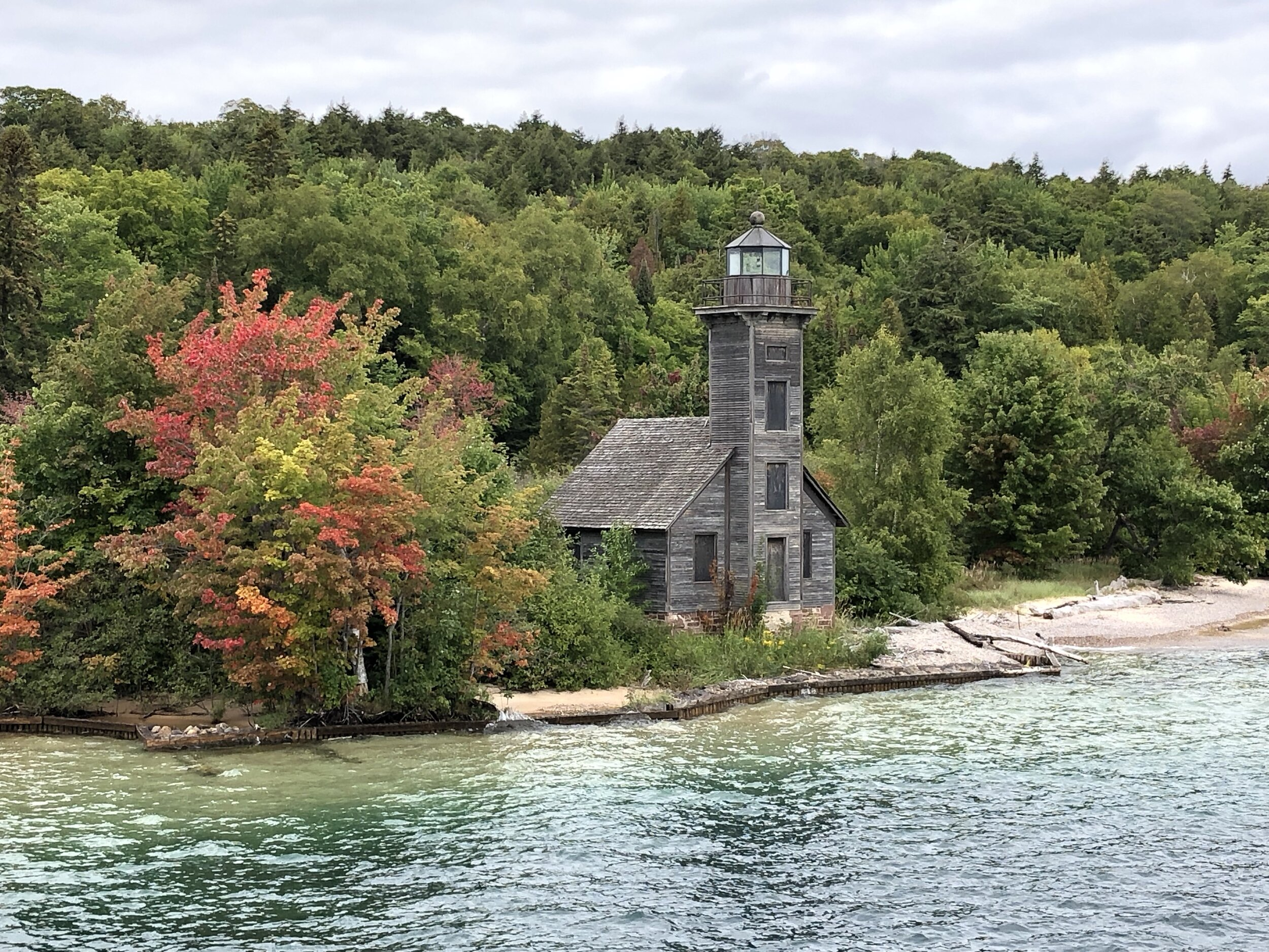 This is the Grand Island East Channel Lighthouse. It first opened for operation in 1868. It's the first week in September and trees are already turning along Lake Superior.