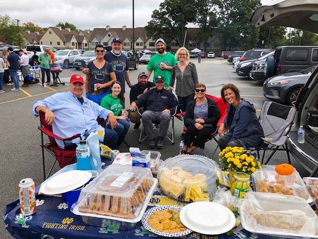 The rain held off for our Tailgate at the ND - Virginia game. The best part of going to a Notre Dame football game is tailgating with friends! In fact, we skipped the game and watched on TV. Thanks for taking the photo blue pants - classic Jim.