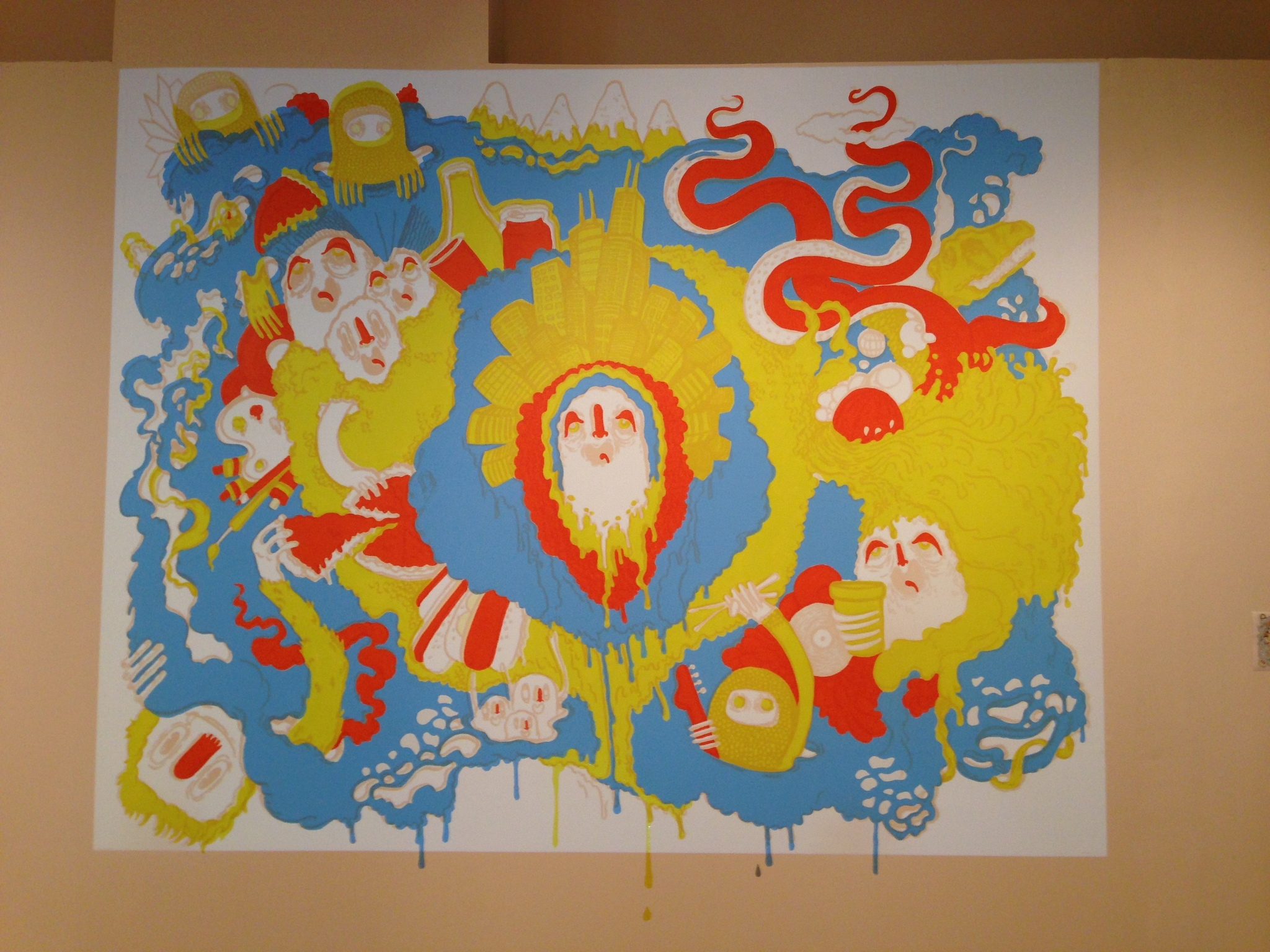 A progress shot of the mural after colors were entirely blocked in.