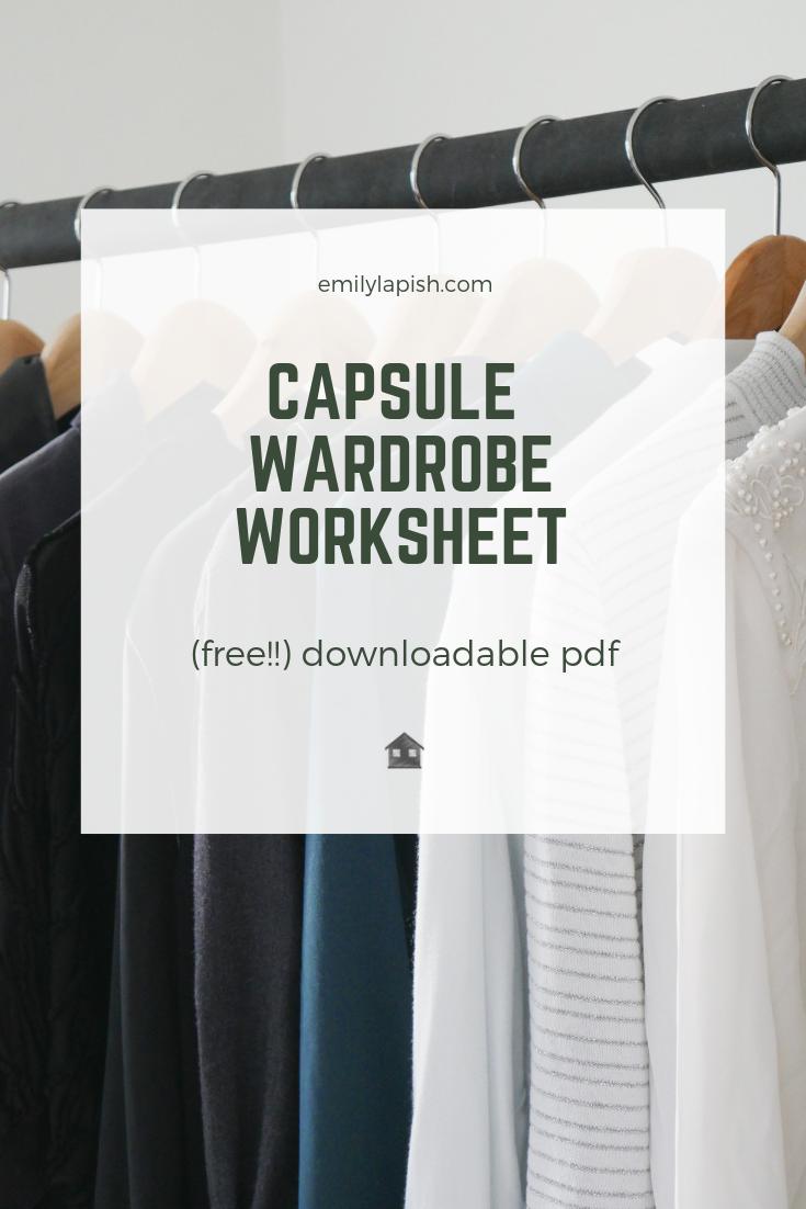 capsule wardrobe worksheet downloadable pdf