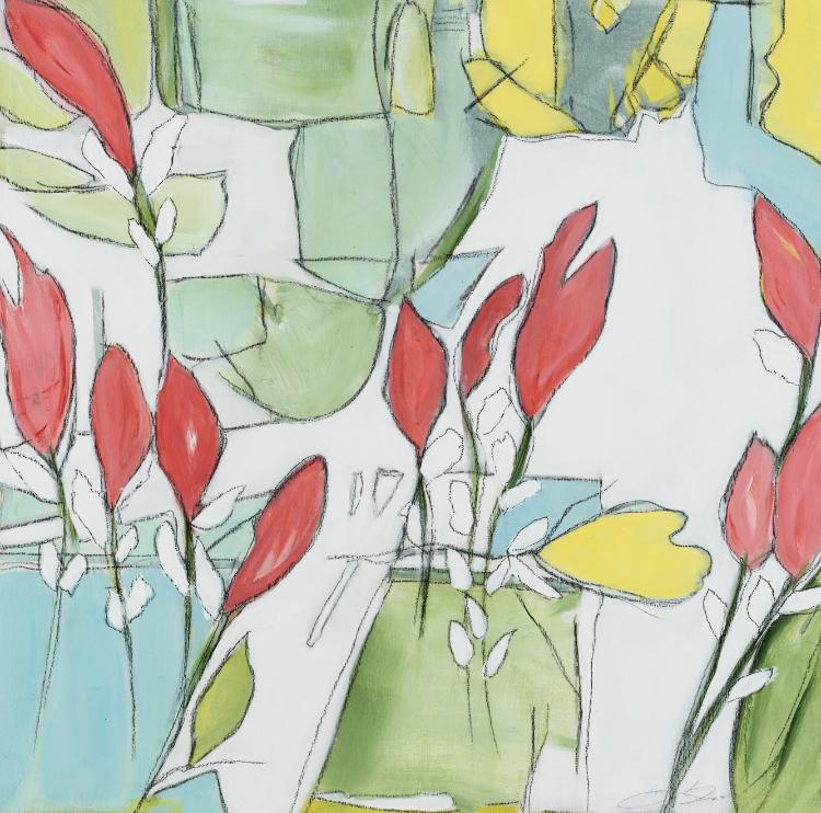 "Terrace Garden, 17.5""x17.5"", available - Miller Gallery Charleston"