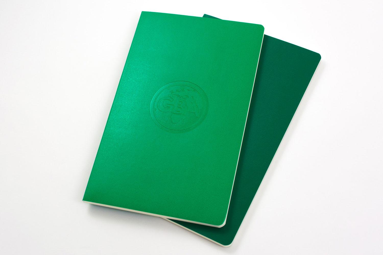 Blind embossing on green Volant books