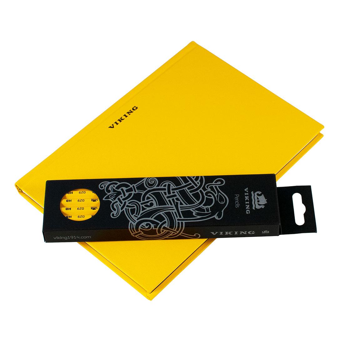 Viking 105 yellow notebook with Skolebylanten pencils