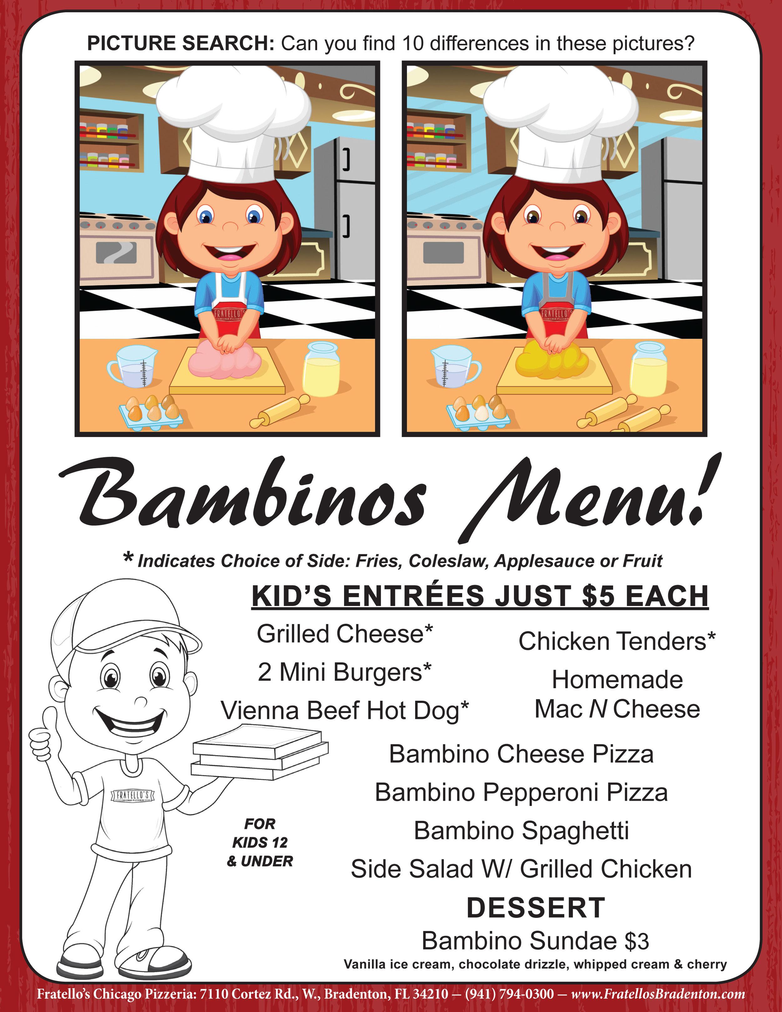Fratello's kids menu