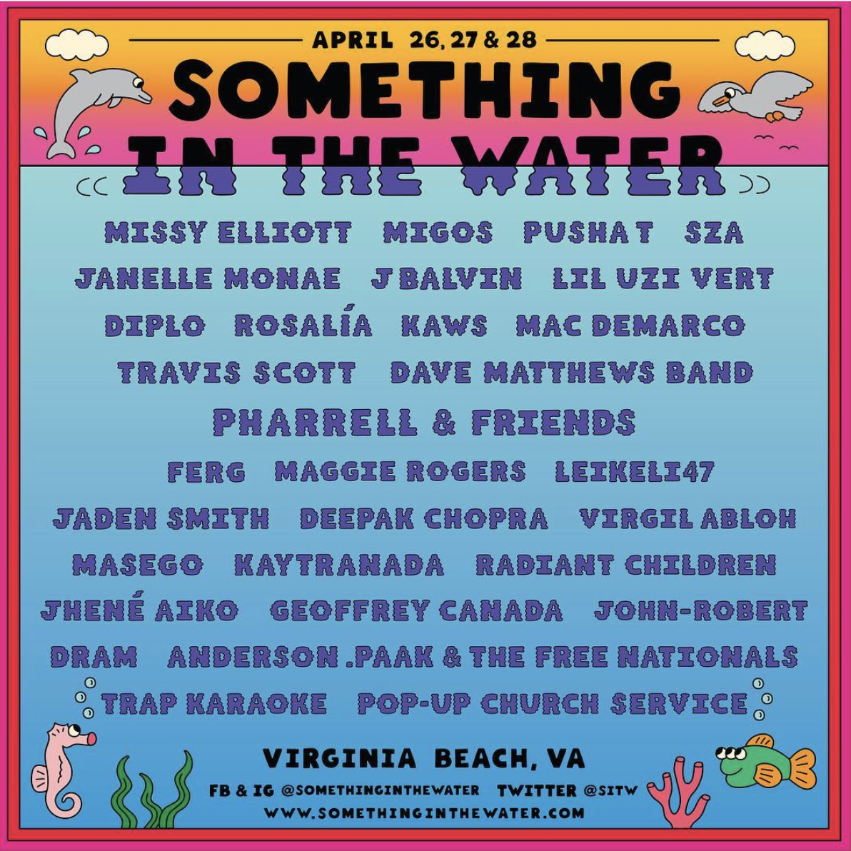 fe4c54708360 Pharrell announces 'Something in the Water' Festival; Lineup Includes Travis  Scott, Virgil Abloh, SZA and more