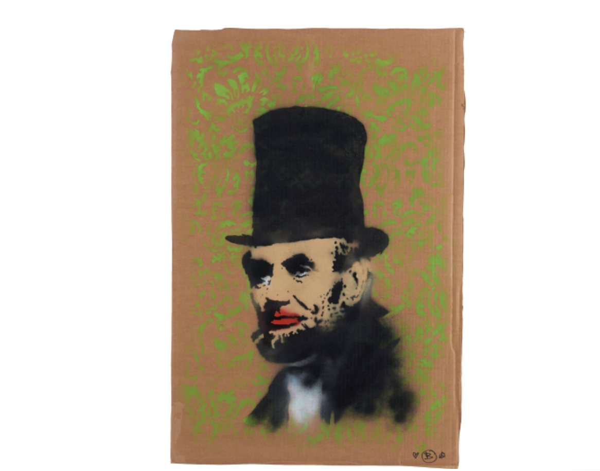 BANKSY   Abe Lincoln,  spray paint and acrylic on cardboard, 2005, courtesy of  Phillips' website .