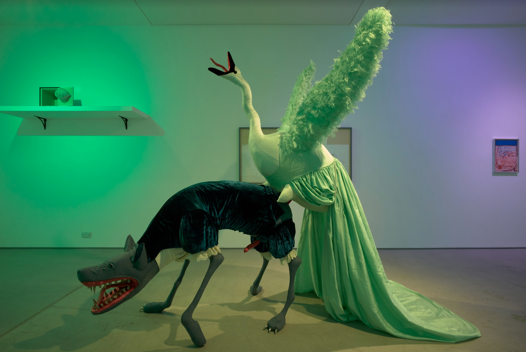 Marianna Simnett,  Hyena and Swan in the Midst of Sexual Congress , 2019. Installation view:  My Head is a Haunted House, curated by Charlie Fox , Sadie Coles HQ, Kingly Street, London. Photo: Robert Glowacki