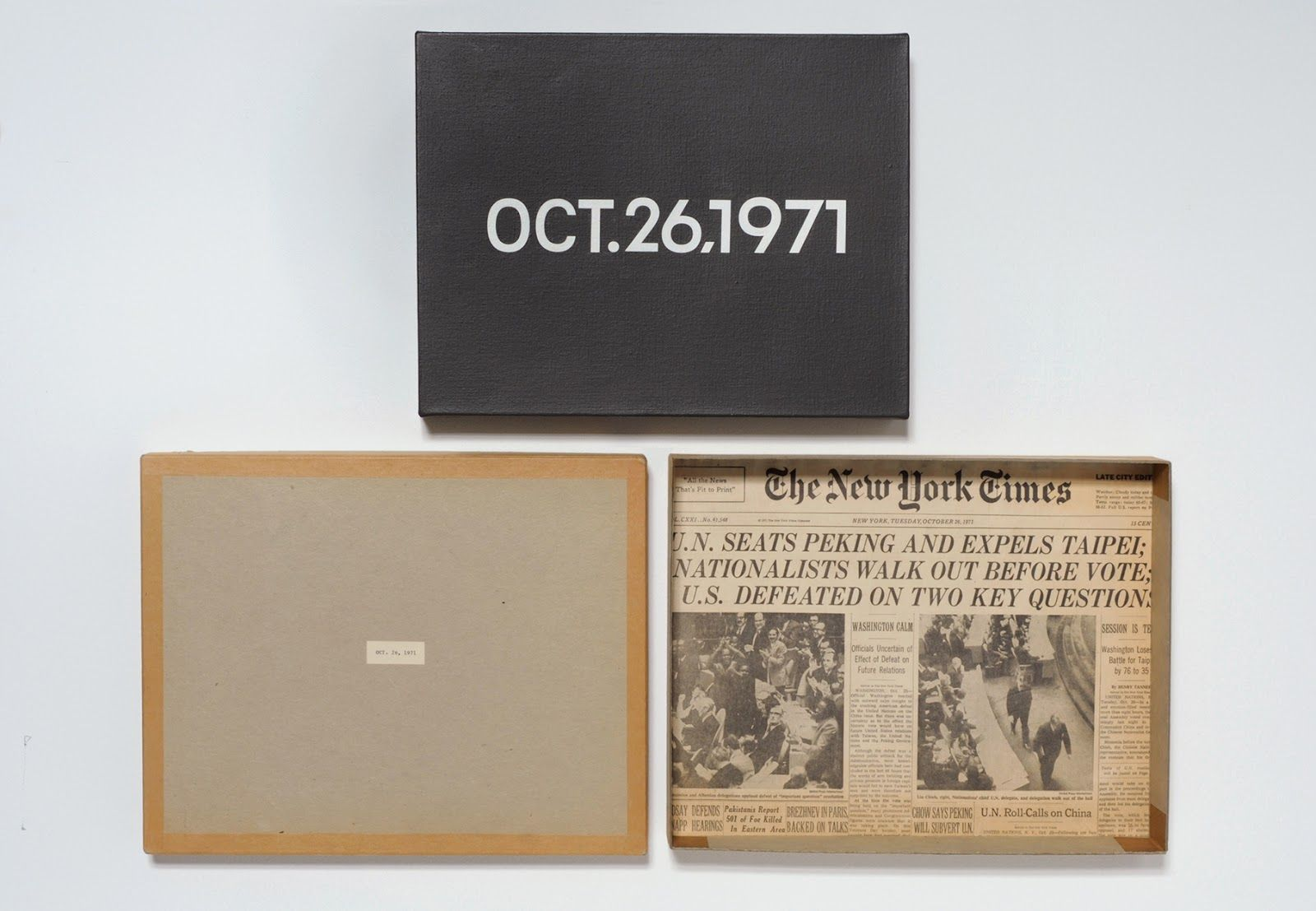 On Kawara: Date Painting, Oct.26,1971. Image courtesy of  David Zwirner .